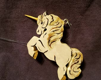wooden unicorn ornament