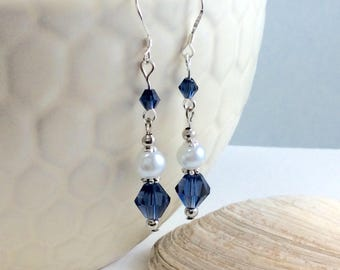 Mightnight Blue Czech Crystal and Czech Glass Pearl Drop/Dangle Earrings with .925 Silver Wires