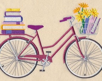 Bibliophile Bicycle (8 x 6) Iron-on Patch // Iron on Patch // Embroidered Patch // MADE TO ORDER