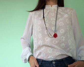 Valentine's Gift, Vintage Necklace, Red Rose Necklace, Long Necklace, Rock Necklace, Boho Jewerly, Black White Necklace, Elegant Necklace