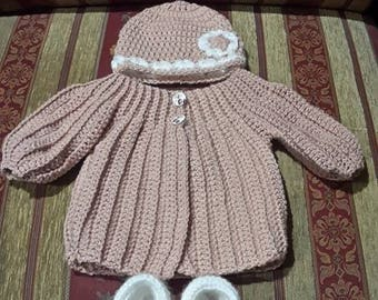 whole jacket, bonnet and booties crochet baby