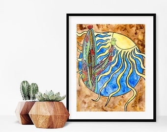 Saguaro Cactus Art Print/ Watercolor Sun painting/Christian Artwork/Southwest Wall Art /Desert Wall Decor/Nature Art