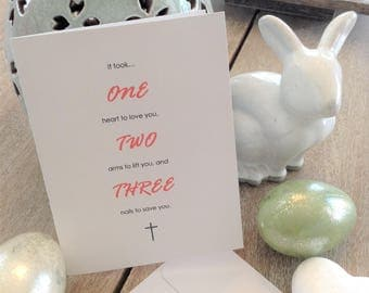 Simple Christian Easter Card White with Coral