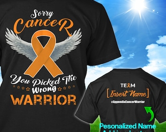 Personalized Appendix Cancer Awareness Tshirt Amber Ribbon Warrior Support Survivor Custom T-shirt Apparel Unisex Women Youth Kids Tee