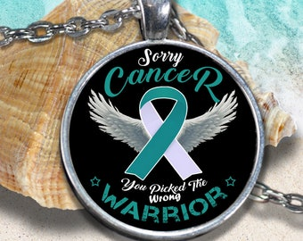 Cervical Cancer Awareness Charm Warrior Necklace Teal White Ribbon Men Women Gift Pendant Silver Gold Plated Fashion Jewelry Accessories