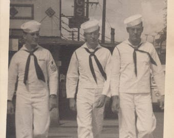 Vintage Military Photo Young Sailors White Uniform Walking Street Antique Found Vernacular Black & White Photography Soldiers Ephemera Art