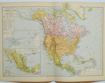 Vintage America Map Etsy - Antique us map