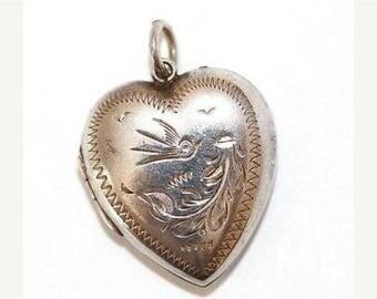 "Vintage Sterling Silver Opening Heart Locket Bird Design c 1940's Larger 1"""