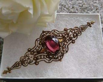 Intricate Vintage Victorian Revival Gold Tone Filigree Amethyst Bar Brooch - In Gift Box.