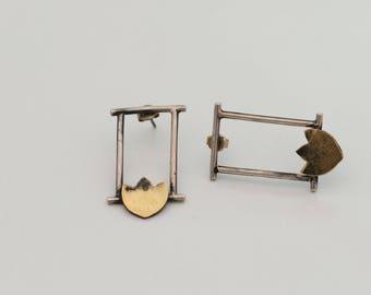 Bronze&Silver Handmade Earrings