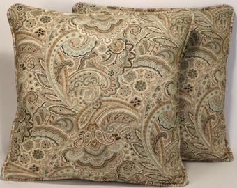 Green Paisley Throw Pillows, Decorative Pillow,Accent Pillows, Home Decor,  2 18