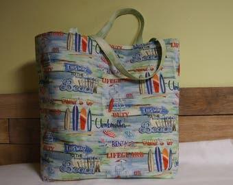Summer tote, surf boards, beach theme, pool bag