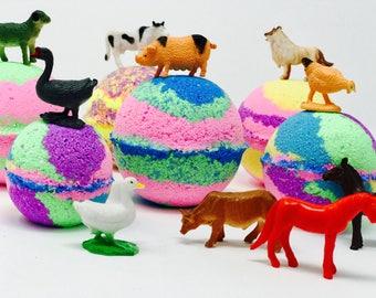 Sale! 3 or 5 7.0 oz Kids Farm Animals Birthday Party / Easter Egg Bath Bomb Favor Set with Surprise Farm Figures Inside each Bath Bomb