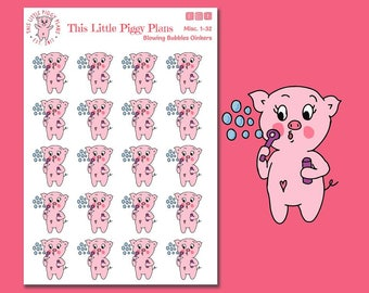 Blowing Bubbles Planner Stickers - Pig Stickers - Kids' Activities Planner Stickers - Playtime - Kids - Blow Bubbles Stickers - [Misc 1-32]