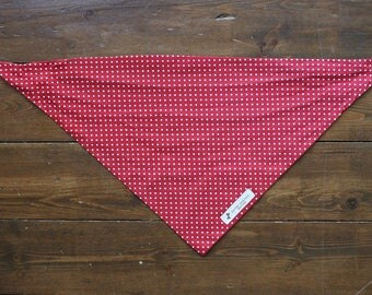 Red Dog Bandana with White Polka Dots Tie Up Dog Bandana