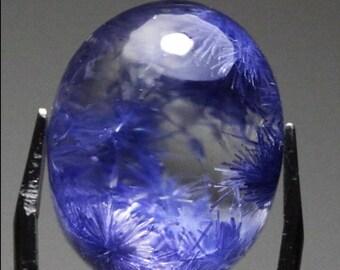 Rare Blue Dumortierite in Quartz Crystal