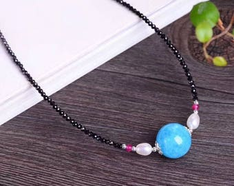 Aquamarine necklace with black spinel, pink tourmaline and freshwater pearls