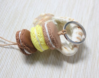 Polymer clay macaroon key chain- Handmade by Claycious