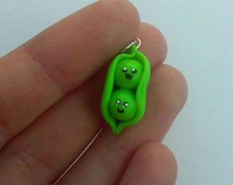 Polymer Clay Peas in a Pod Charm, Two Peas in a Pod, Best Friends Charms, Twins Charms