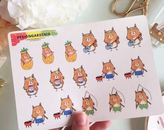 Summer Stickers • Animal Stickers • Design Gardenia • Sunny Fox • BBQ Barbecue Stickers  • Ukulele Stickers • Pineapple Stickers  • Fishing