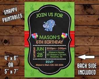 Hippo Birthday Invitation, Birthday Invite, Party Invite, Printable, Digital File - 52