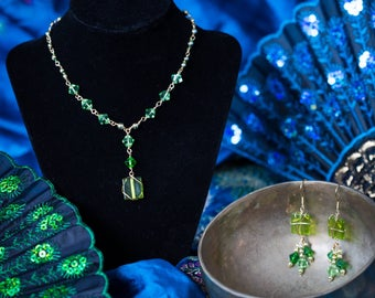 Green and Gold Wire Wrapped Necklace and Earring Set