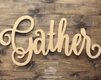 Gather (uppercase G) Script Cutout Sign, Unfinished