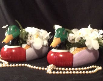 Mallard Duck Planter, Ceramic, Vintage 70's