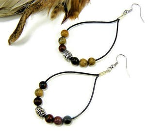 Bohemian Earrings, Beaded Earrings, Teardrop Earrings, Boho Chic, Leather Earrings, Gemstone Earrings, Boho Jewelry, Dangle Earrings,