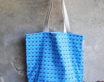 cotton blue palmette beach bag