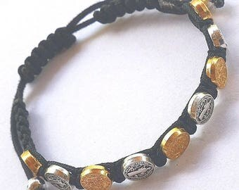 St Benedict Black Corded Rosary Bracelet with (10) Silver / Gold Tone Medallions