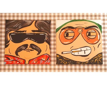 Fear and loathing in Las Vegas funny portraits, handmade artworks, two pieces included
