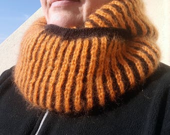 """Cowl/Snood """"two towers"""" very soft orange and black"""