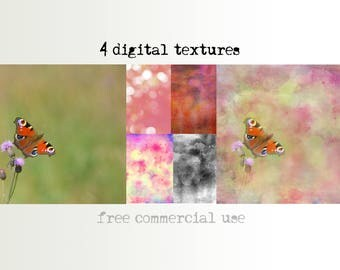 Digital background, printable scrapbooking paper, journal page, photoshop textures, set 4, 12x12, commercial use, pink set, bokeh watercolor