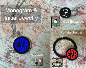Monogram or Initial Necklace, Bracelet or Ponytail holder