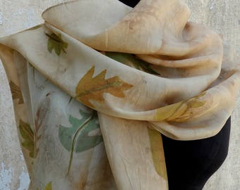 Silk scarf, Hand painted Silk scarf ,Autumn silk scarf, Unique silk scarf, Artistic silk scarf