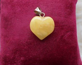 Honey Amber Heart pendant