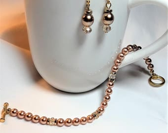 Rose Gold Swarovski Pearl and Crystal Bracelet & Earrings Set