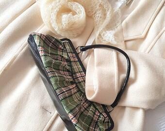 Vintage Green Top Handle Hand Bag Purse 70's