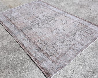 Overdyed Gray Rug, 5'6'x8'7'feet,Gray Rug,Overdyed Rug,Area Rug,Turkish Rug,Vintage Rug,Beige Overdyed Rug,Home And Living, 4169