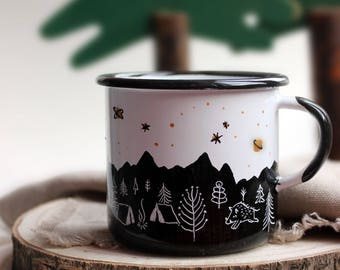 Camping in the woods-hand-painted enamel cup