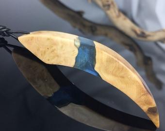 Wood resin jewellery/necklace/blue-metallic/Holz resin necklace/blue-metallic/epoxy resin/gift idea/present/
