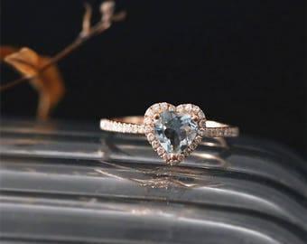 Solid 14K Rose Gold Aquamarine Engagement Ring 6mm Heart Cut Natural Aquamarine Ring March's Birthstone Ring Bridal Ring Diamonds Halo Ring