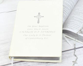 Personalised Silver Companion Holy Bible - Eco-friendly Gifts Ideas For On Your Christening Day Baptism First 1st Holy Communion Wedding