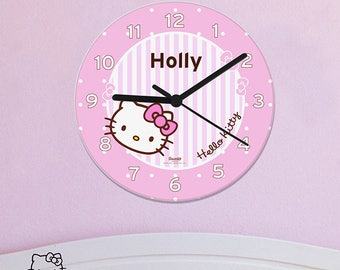 Personalised Hello Kitty Bow Clock Gifts Ideas For Girls Her Womens Official Bedroom Pink Daughters Sister Wall Nursery Babys Babies
