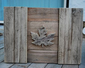 Canadian Flag with realistic leaf/Handcrafted/great gift idea/Natural/wood/3D/rustic/reclaimed/wall decor/maple leaf/canadiana