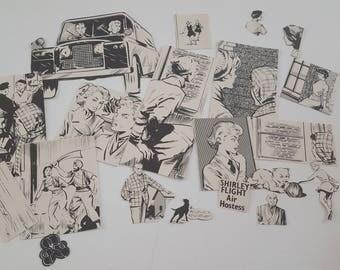 20pc Die Cut Hand Cut Women, Men, Animals Black And White 70s Annual Ephemera For Scrapbooking, Collage, Art Journaling, Crafting, Decoupage