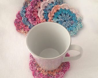 Doily Coasters, Bright whitewashed coasters, flower coasters, set of 6 coasters
