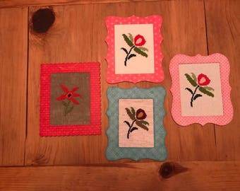 Framed Floral Cross-stitch Greeting Cards