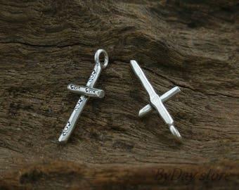 Handmade Cross Silver Charm, Tribal Ethnic Daisy Charms,approx: 11x18.5 mm.,2 pcs.